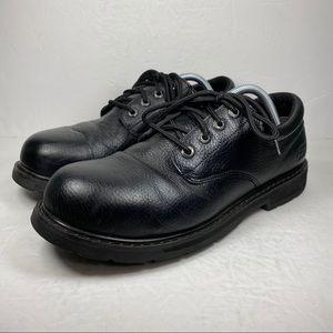 Skechers Work Steel Toe Black Leather Oxford Shoe